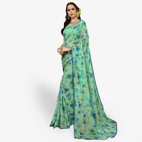 Glorious Turquoise Green Colored Casual Printed Chiffon Saree