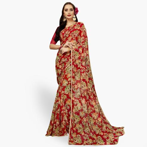 Attractive Red Colored Casual Printed Chiffon Saree