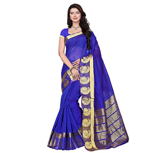 Blue Cotton Weaving Work Saree