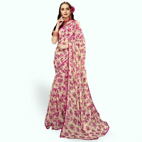 Graceful Cream Colored Casual Printed Chiffon Saree