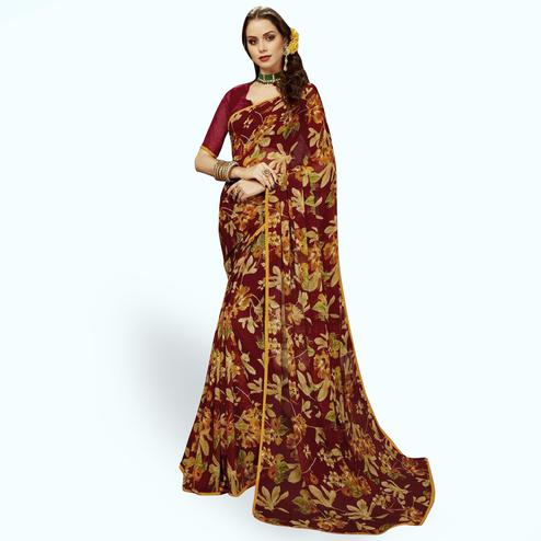 Blooming Maroon Colored Casual Printed Chiffon Saree