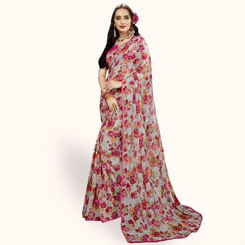 Charming Gray Colored Casual Printed Chiffon Saree