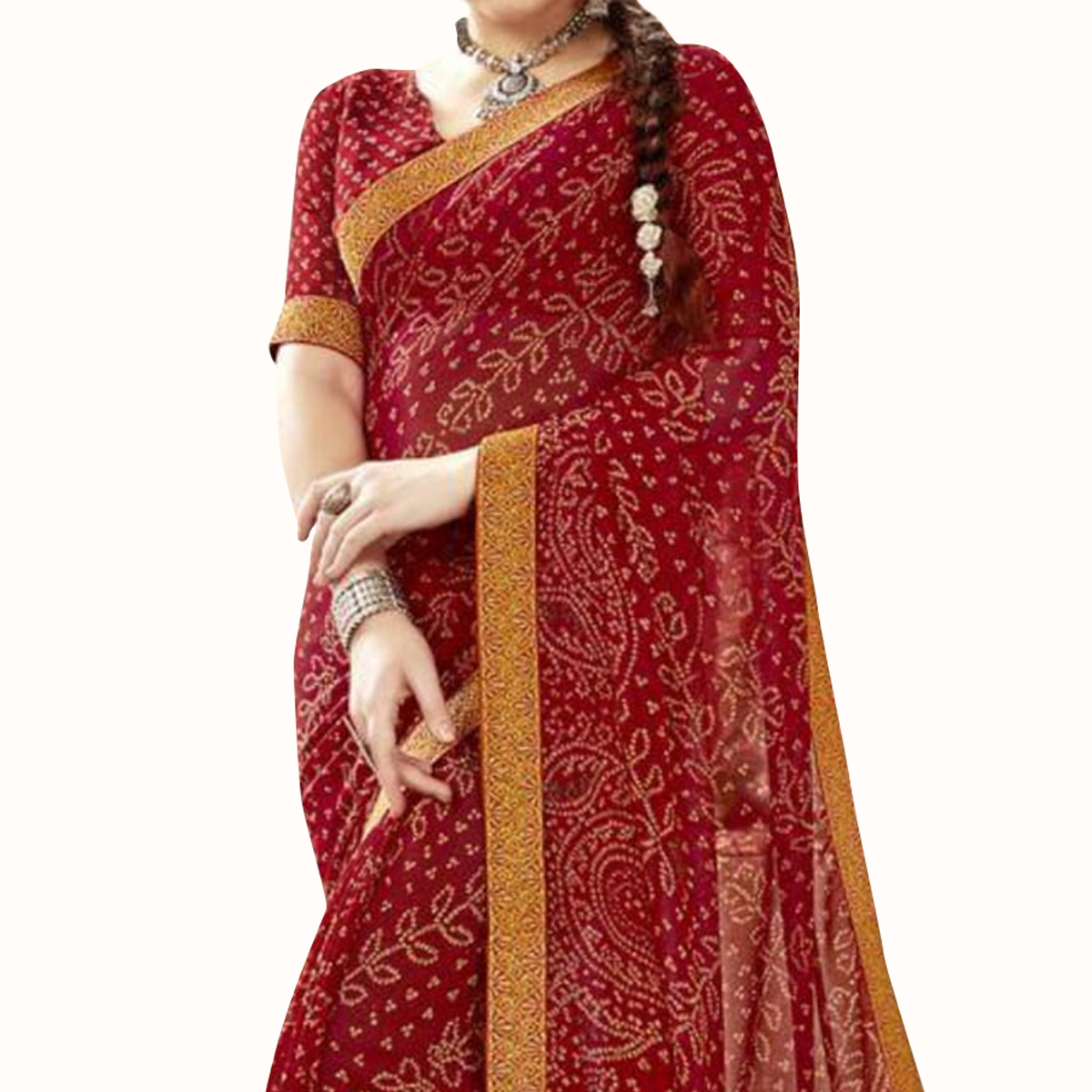 Gleaming Red Colored Partywear Printed Georgette Saree