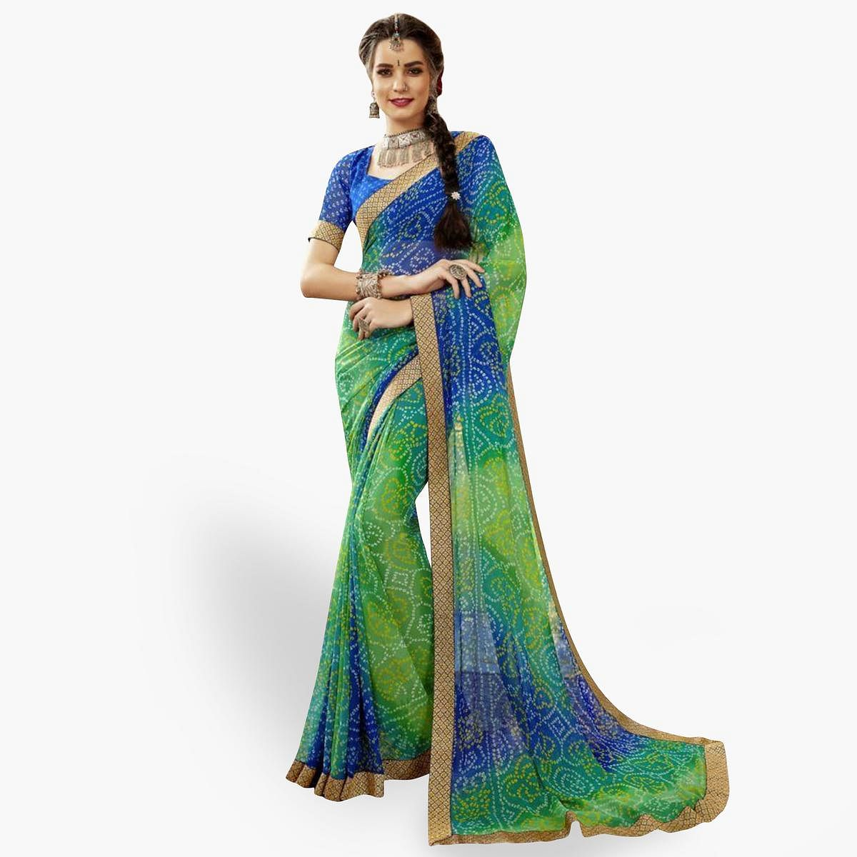 Mesmeric Green Colored Partywear Printed Georgette Saree