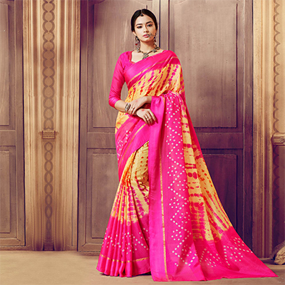 Pink-Yellow Designer Festive Wear Woven Kota Silk Saree