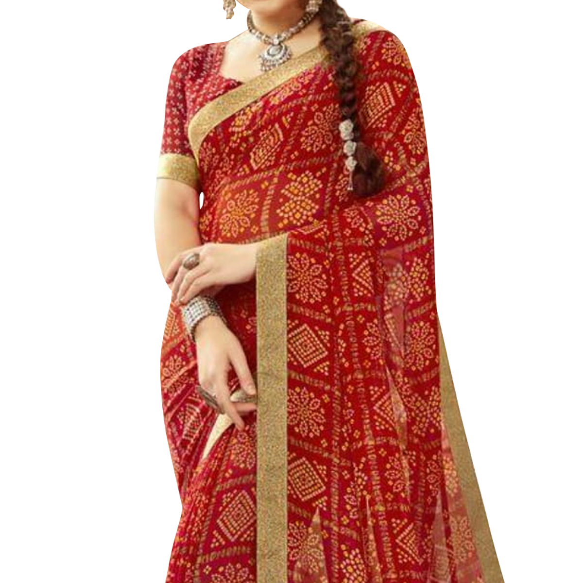 Demanding Red Colored Partywear Printed Georgette Saree