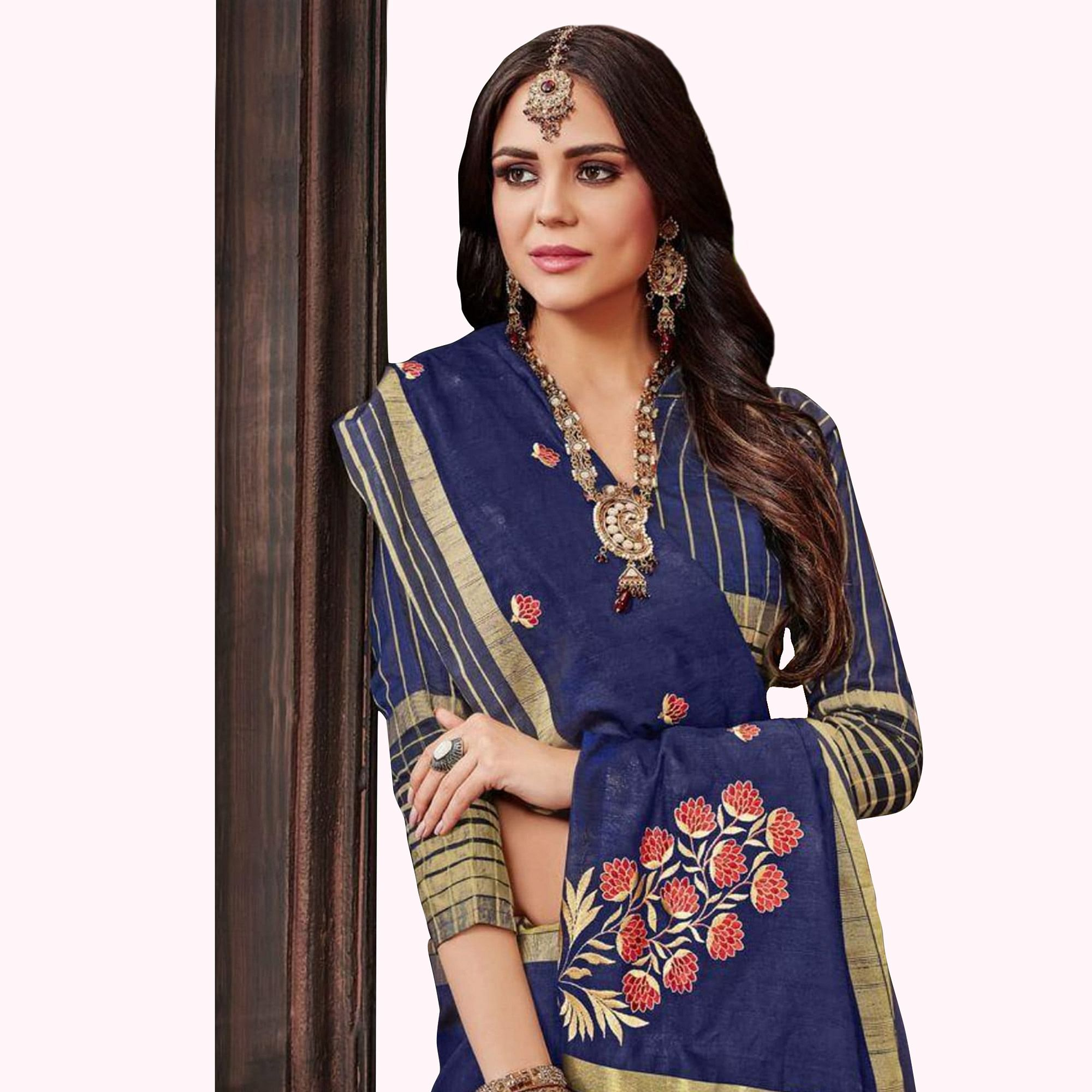 Eye-Catching Blue Colored Festive Wear Embroidered Saree