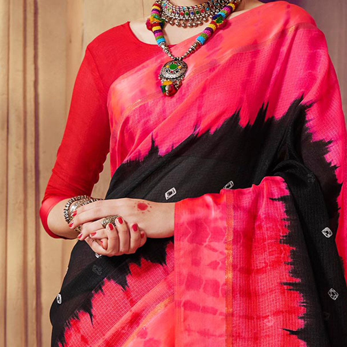 Black Designer Festive Wear Woven Kota Silk Saree