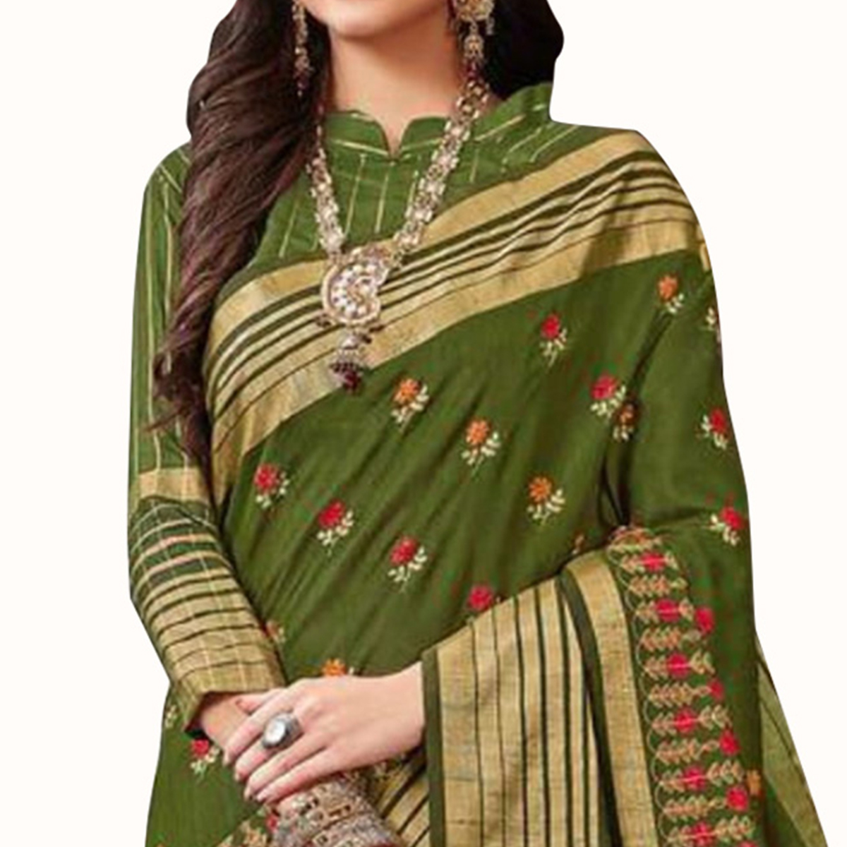 Demanding Green Colored Festive Wear Embroidered Saree