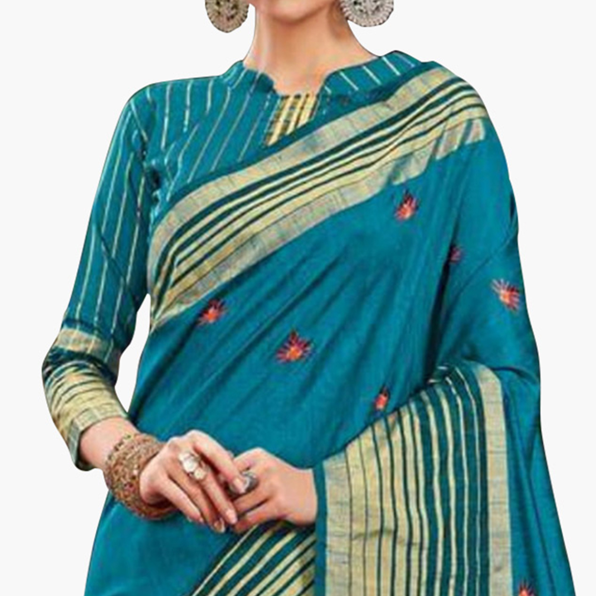 Desirable Sky Blue Colored Festive Wear Embroidered Saree