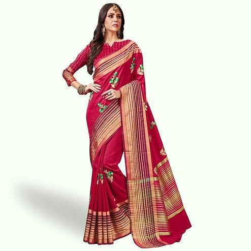 Charming Pink Colored Festive Wear Embroidered Saree