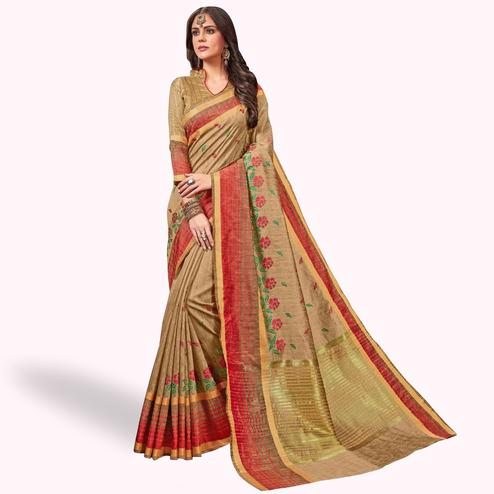 Appealing Beige Colored Festive Wear Embroidered Saree