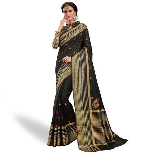 Impressive Black Colored Festive Wear Embroidered Saree