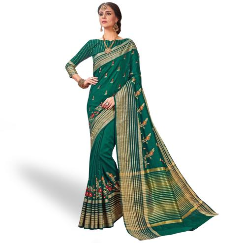Refreshing Turquoise Green Colored Festive Wear Embroidered Saree