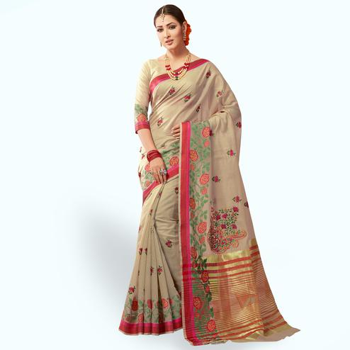 Blissful Dark Beige Colored Festive Wear Embroidered Cotton Silk Saree