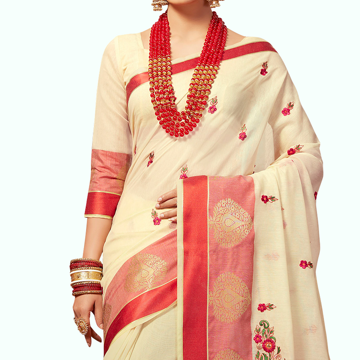 Ideal Off White Colored Festive Wear Embroidered Cotton Silk Saree