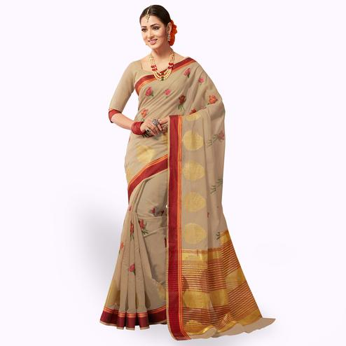 Imposing Dark Beige Colored Festive Wear Embroidered Cotton Silk Saree