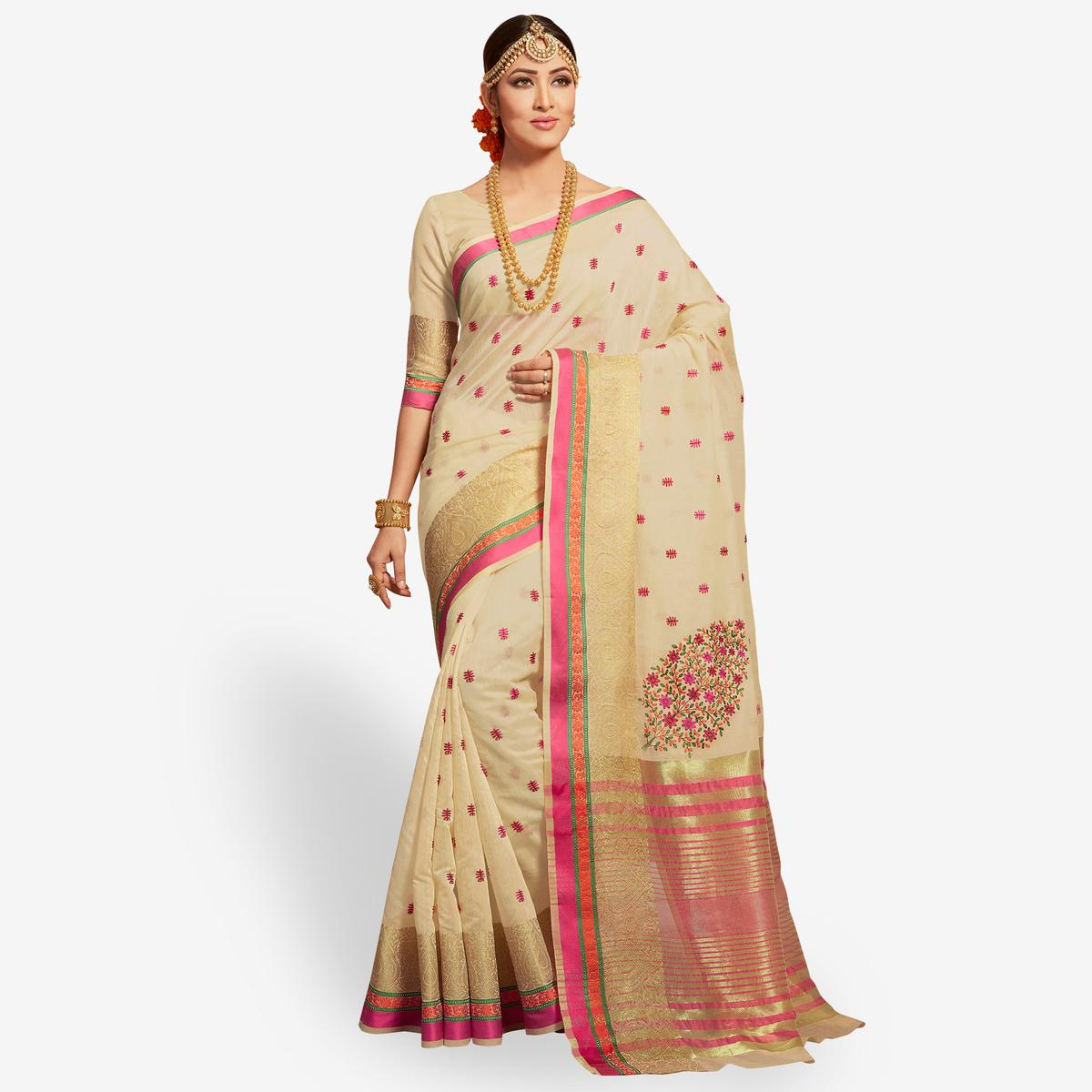 Lovely Cream Colored Festive Wear Embroidered Cotton Silk Saree
