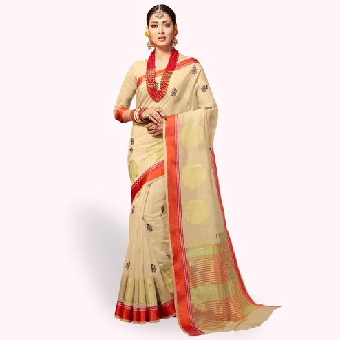 Majesty Cream Colored Festive Wear Embroidered Cotton Silk Saree