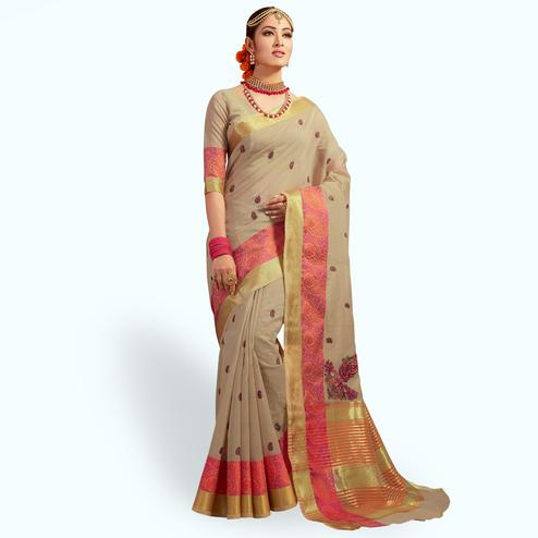 Impressive Dark Beige Colored Festive Wear Embroidered Cotton Silk Saree