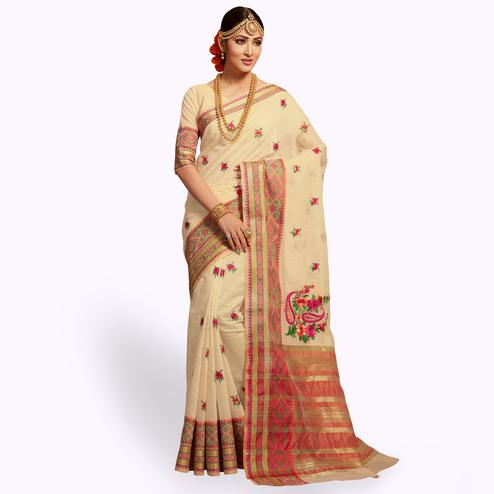 Mesmerising Cream Colored Festive Wear Embroidered Cotton Silk Saree