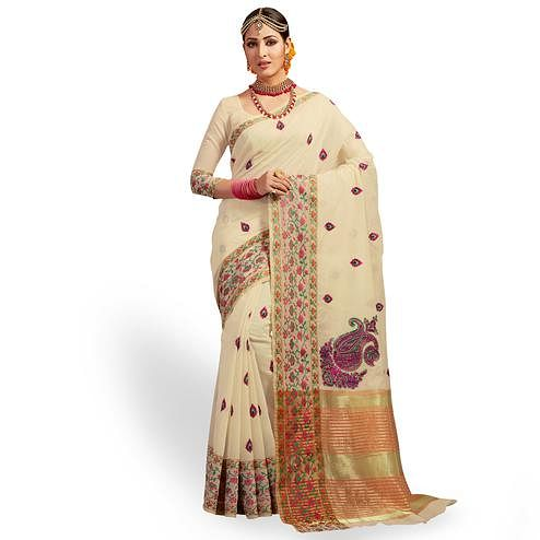 Pleasance Off White Colored Festive Wear Embroidered Cotton Silk Saree