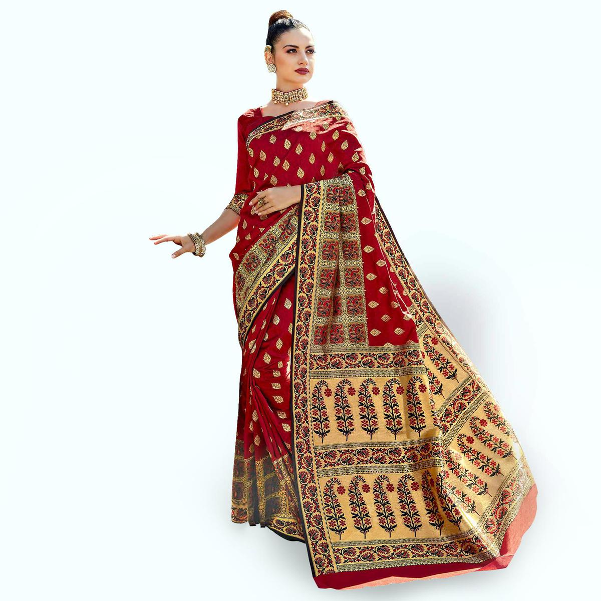 Ethnic Red Colored Festive Wear Woven Crepe Saree