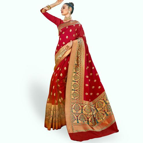 Staring Red Colored Festive Wear Woven Crepe Saree