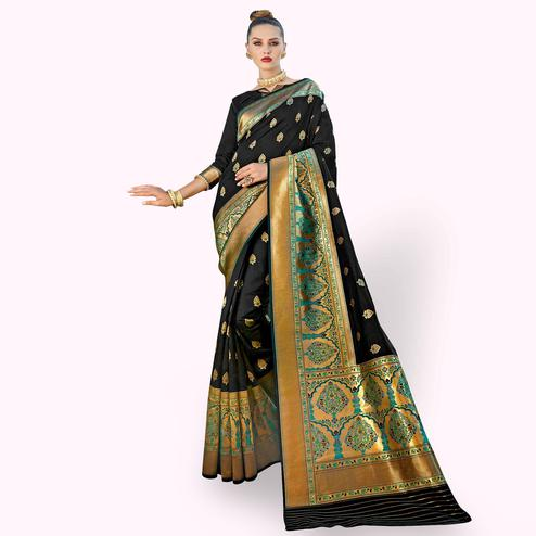 Dazzling Black Colored Festive Wear Woven Crepe Saree