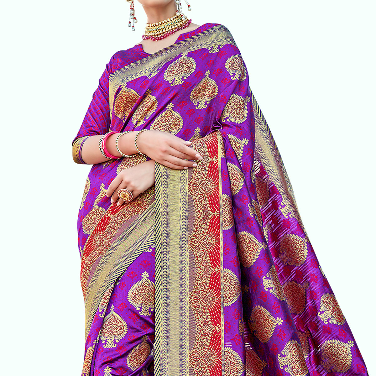 Refreshing Purple Colored Festive Wear Woven Art Silk Saree