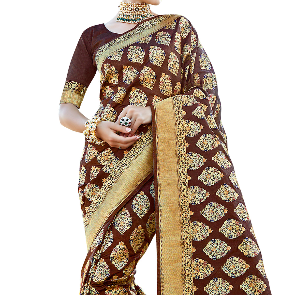 Magnetic Dark Brown Colored Festive Wear Woven Crepe Saree