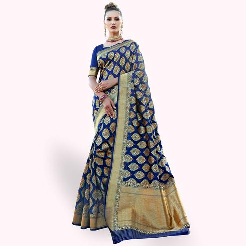 Hypnotic Blue Colored Festive Wear Woven Art Silk Saree