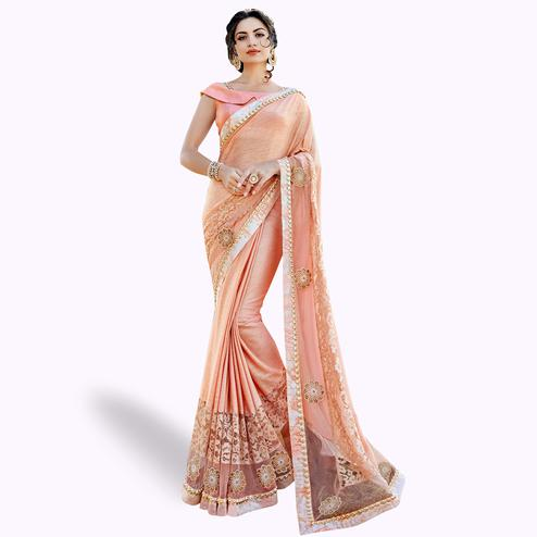 Majesty Peach Colored Partywear Embroidered Lycra Saree