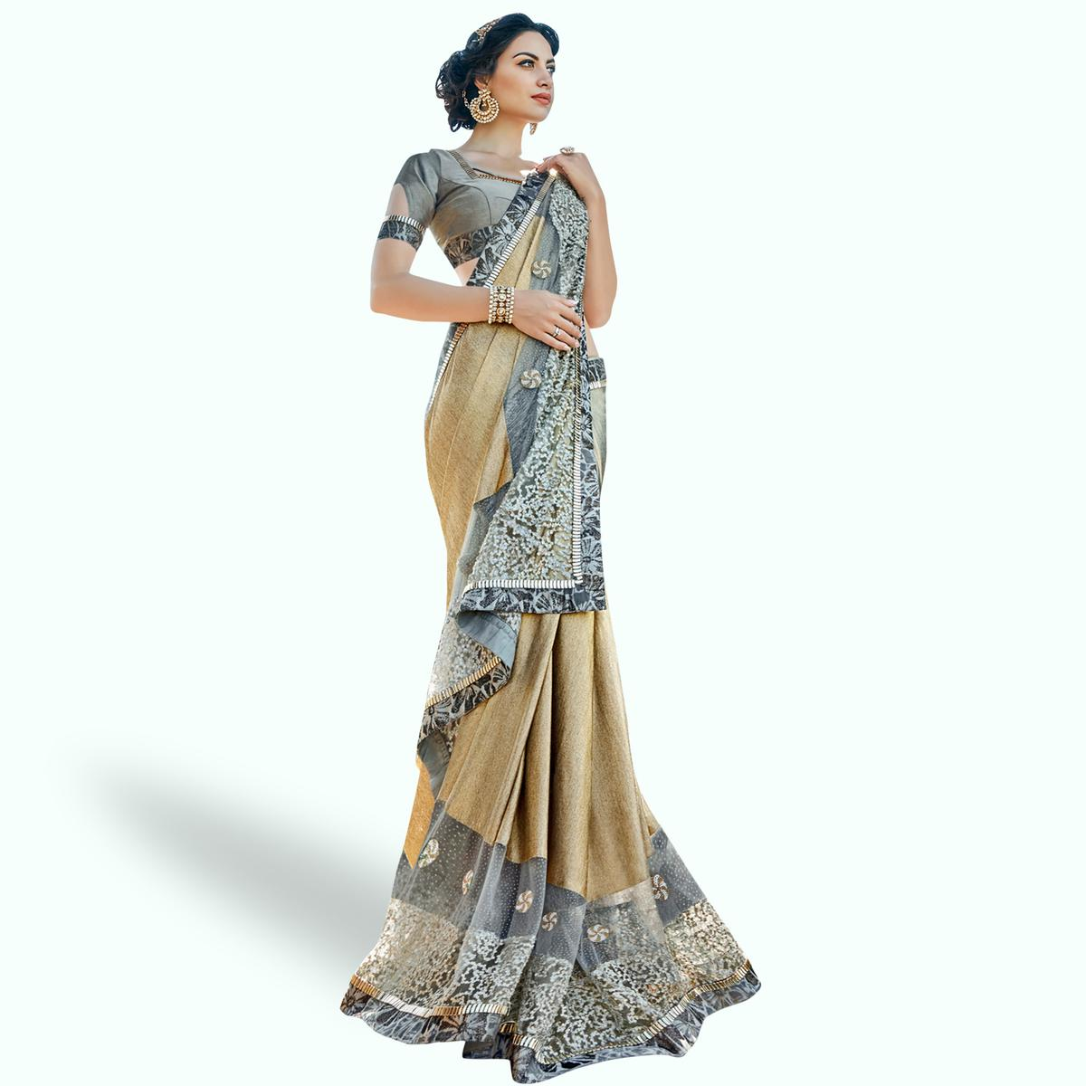 Pleasance Beige Colored Partywear Embroidered Lycra Saree