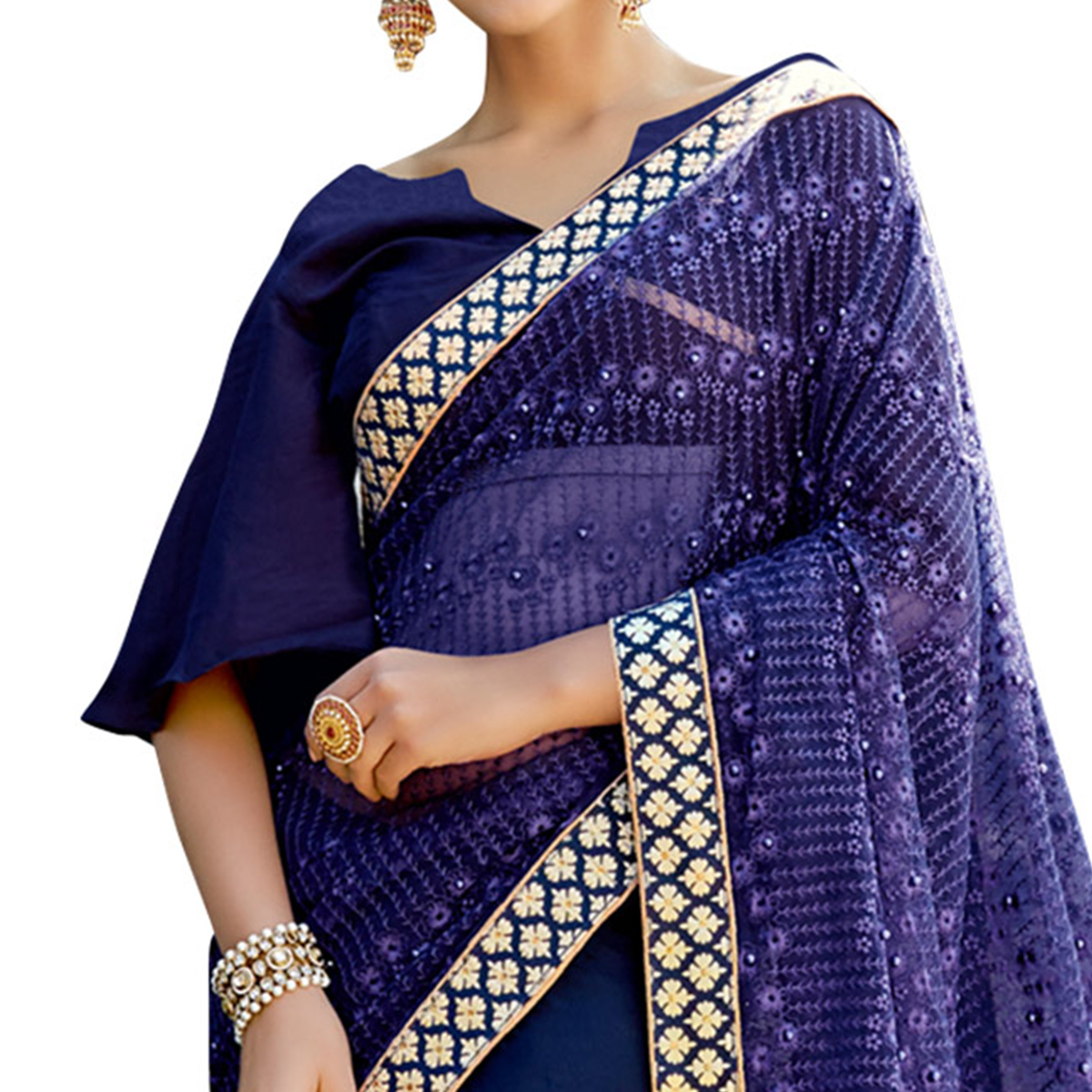 Breathtaking Navy Blue Colored Partywear Embroidered Lycra Saree