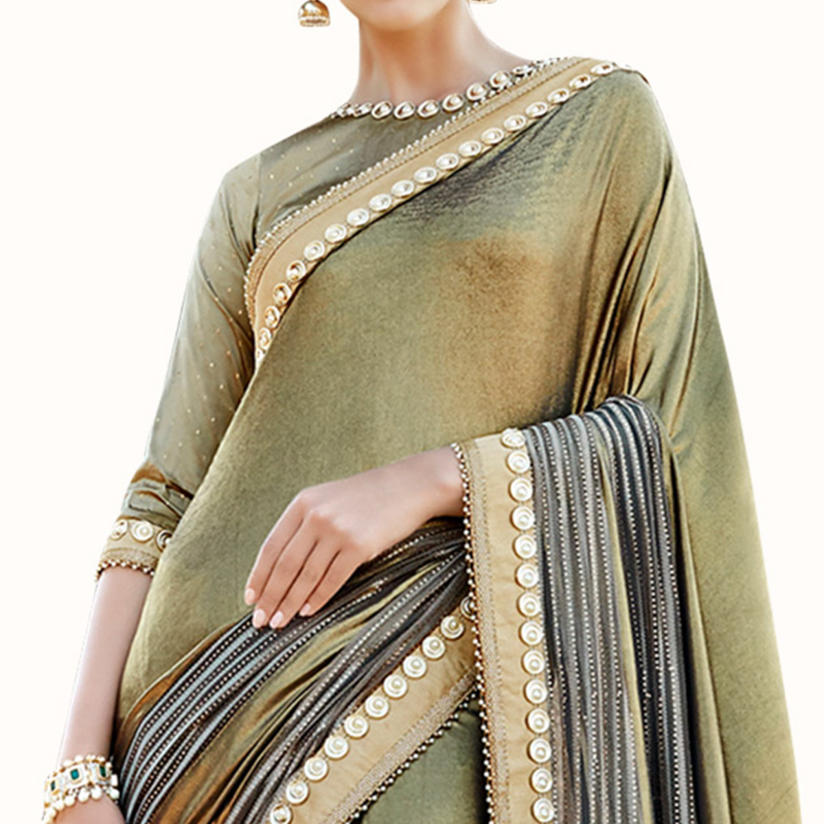 Magnetic Olive Green Colored Partywear Embroidered Lycra Saree