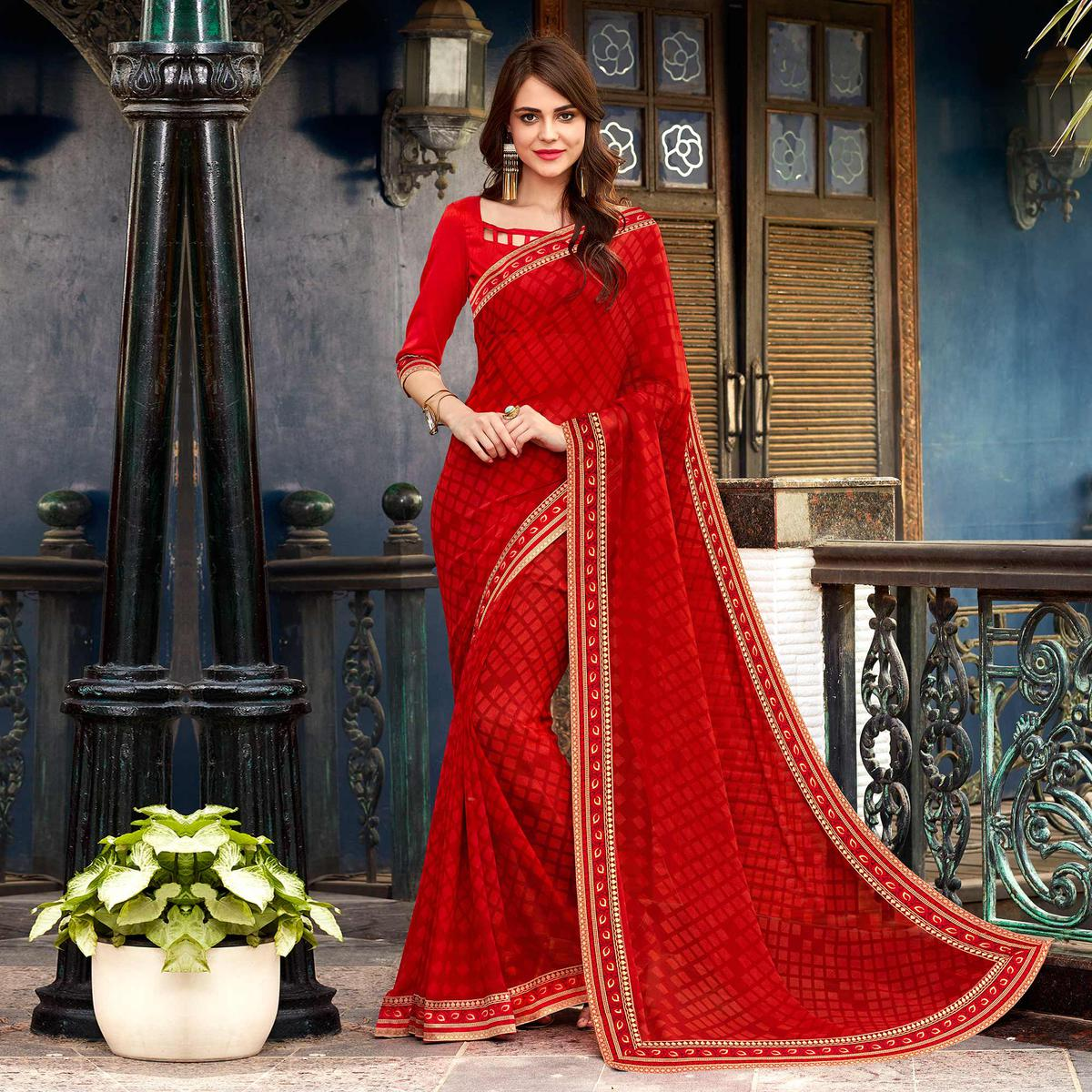 Red Designer PartyWear Printed Georgette Saree