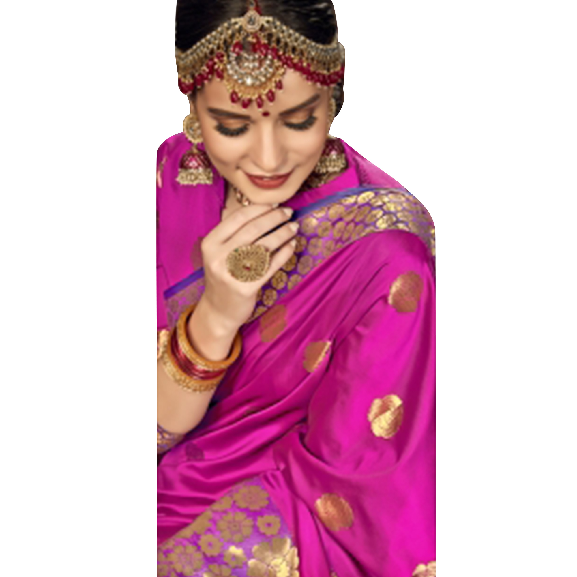 Trendy Rani Pink Colored Festive Wear Woven Crepe Saree