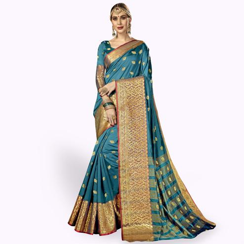 Elegant Steel Blue Colored Festive Wear Woven Crepe Saree
