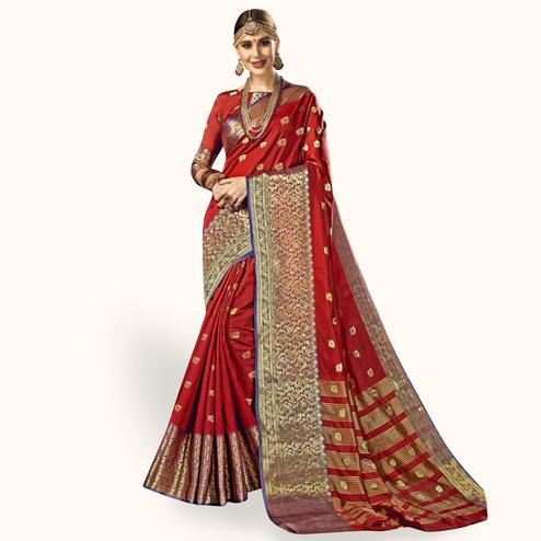 Radiant Red Colored Festive Wear Woven Crepe Saree