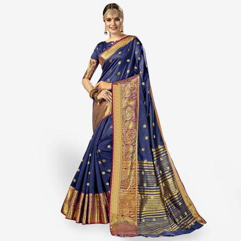 Pleasant Navy Blue Colored Festive Wear Woven Crepe Saree