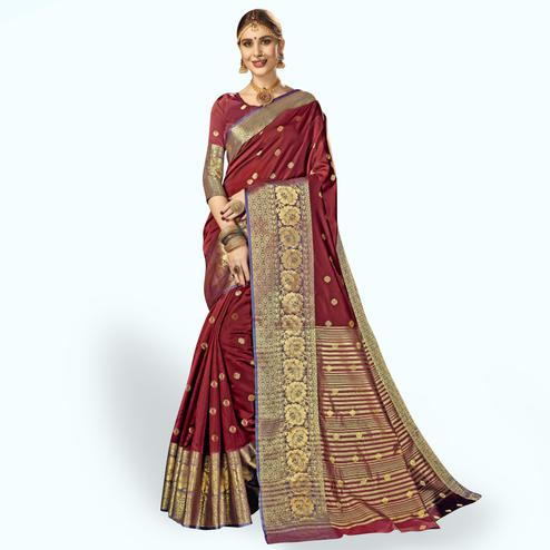 Opulent Maroon Colored Festive Wear Woven Crepe Saree
