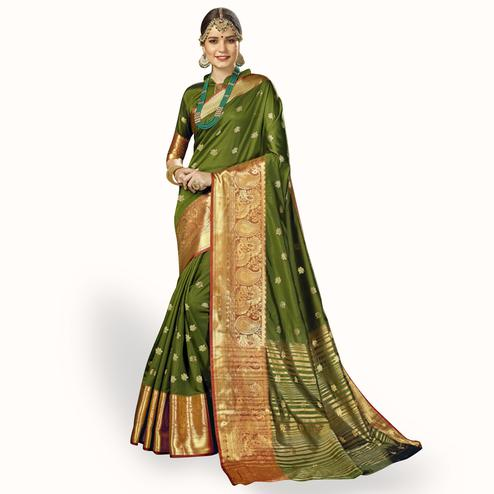 Energetic Olive Green Colored Festive Wear Woven Crepe Saree