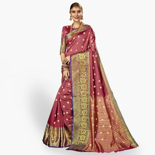 Glowing Dark Mauve Colored Festive Wear Woven Crepe Saree