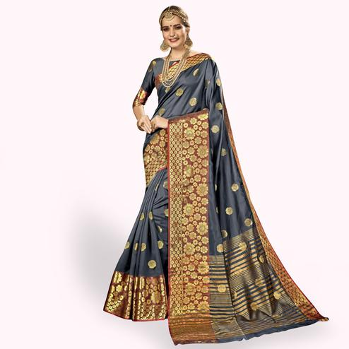 Intricate Gray Colored Festive Wear Woven Crepe Saree