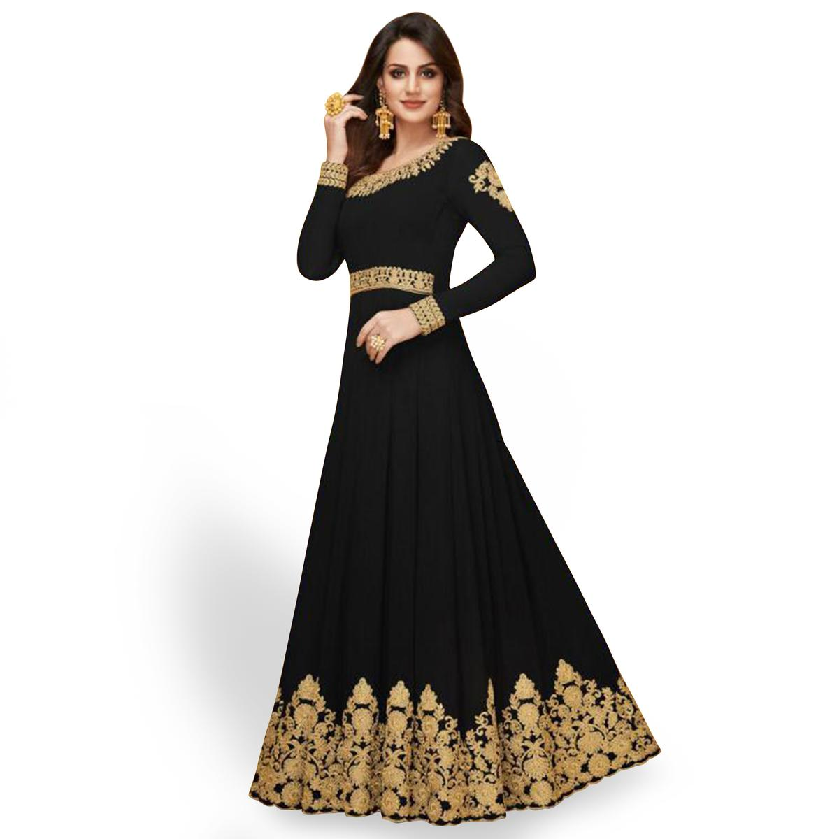 Stunning Black Colored Partywear Embroidered Faux Georgette Anarkali Suit