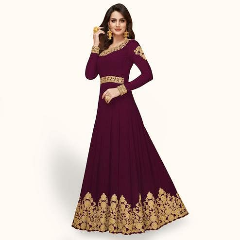 Marvellous Purple Colored Partywear Embroidered Faux Georgette Anarkali Suit