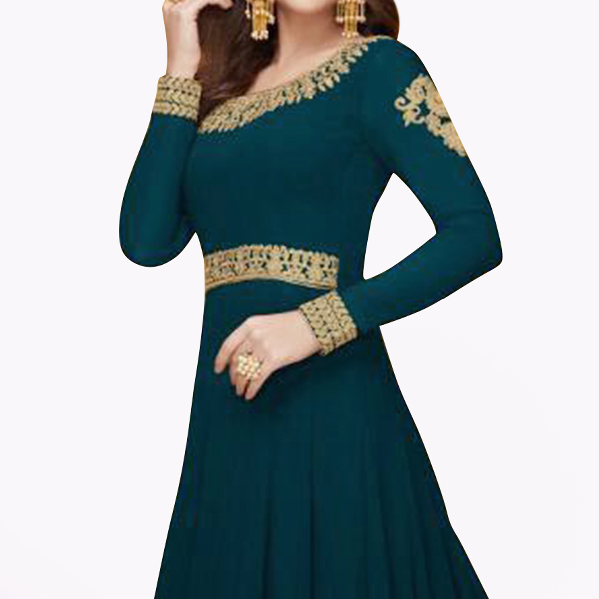 Fantastic Rama Colored Partywear Embroidered Faux Georgette Anarkali Suit