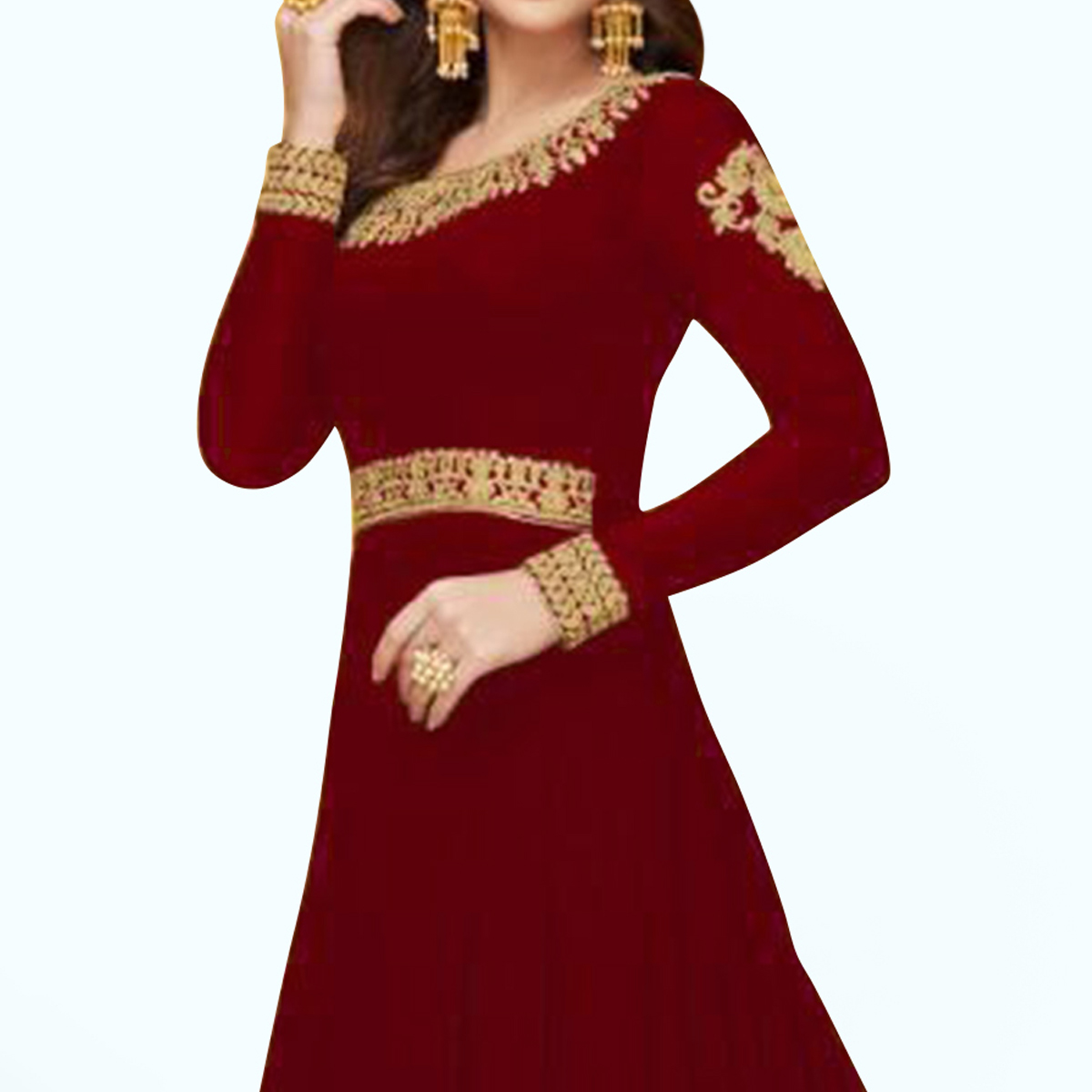 Gleaming Red Colored Partywear Embroidered Faux Georgette Anarkali Suit