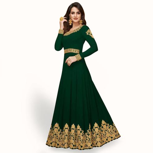 Alluring Green Colored Partywear Embroidered Faux Georgette Anarkali Suit